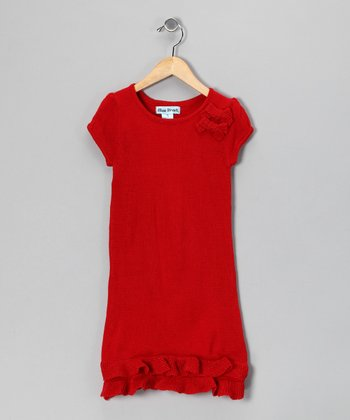 Red Bow Sweater Dress - Infant