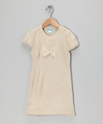 Beige Bow Dress - Infant & Toddler