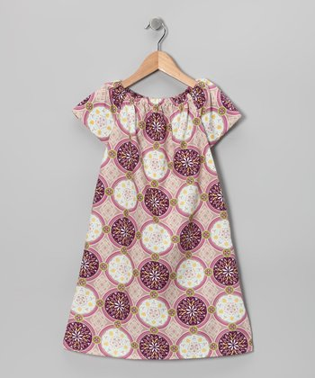 Plum & White Circle Short-Sleeve Sophie Dress - Toddler & Girls