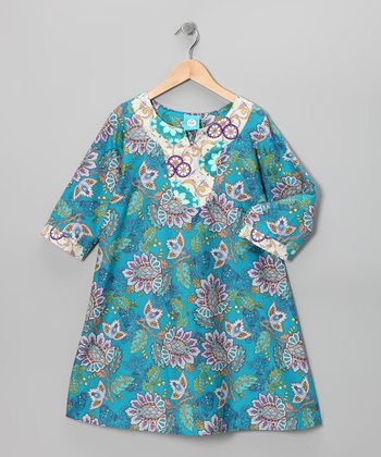 Teal Paisley Ella Dress - Girls
