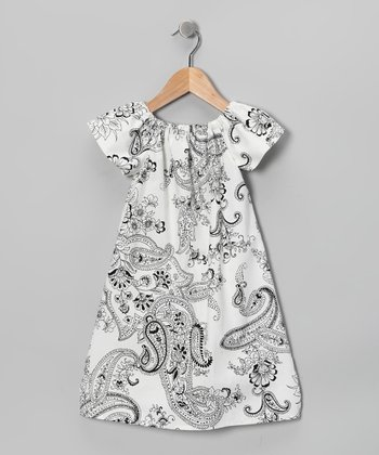 White Paisley Short-Sleeve Sophie Dress - Toddler & Girls