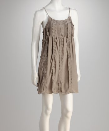 Light Khaki Pin-Tuck Silk Dress