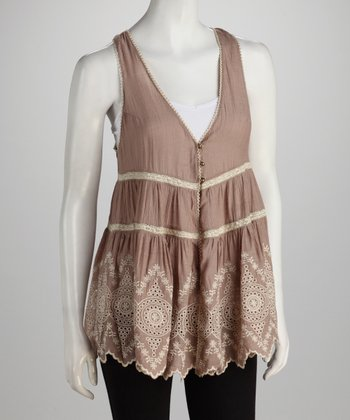 Mocha Embroidered Zigzag Vest