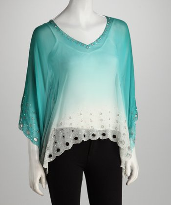 Aqua Ombré Silk Cape-Sleeve Top