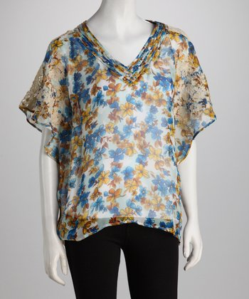 Blue & Orange Sheer Floral Silk V-Neck Top