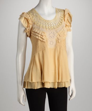 Blue Tassel Mustard Crocheted Silk Top