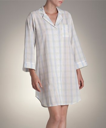 Blue & White Plaid Sleepshirt - Women