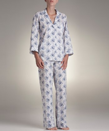 Blue & White Floral Pajama Set - Women