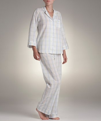 Blue & White Plaid Pajama Set
