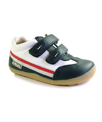 White & Navy i-walk Sport Double-Strap Sneaker