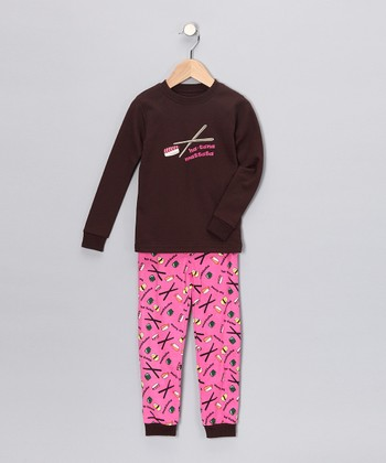 Brown Sushi Long-Sleeve Pajama Set - Toddler & Kids