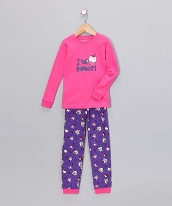 Pink 'I'm Sweet' Long-Sleeve Pajama Set - Toddler & Kids