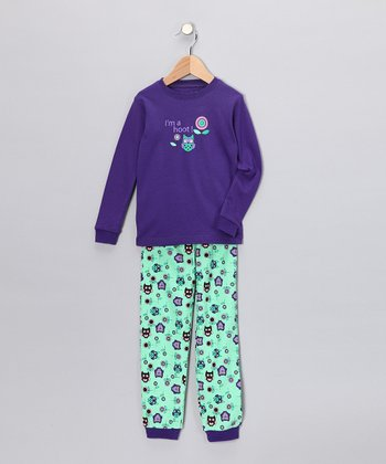 Purple Owl Long-Sleeve Pajama Set - Toddler & Kids