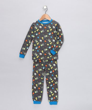 Gray Space Long-Sleeve Pajama Set - Infant, Toddler & Kids