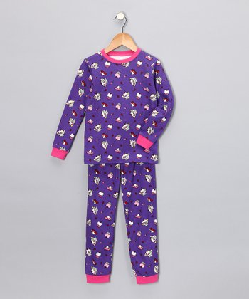 Purple Dessert Long-Sleeve Pajama Set - Toddler