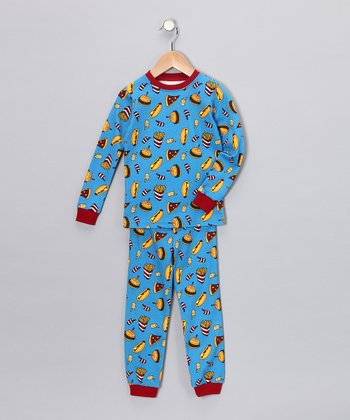 Blue Fast Food Long-Sleeve Pajama Set - Infant