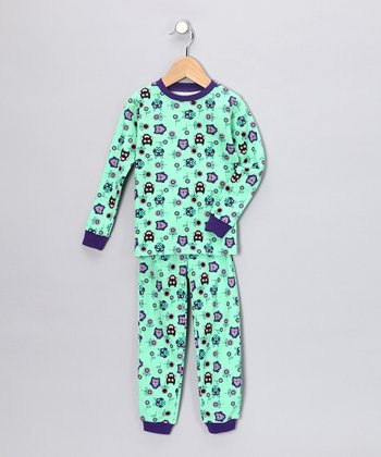 Aqua Owl Long-Sleeve Pajama Set - Kids