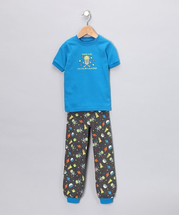 Blue Alien Short-Sleeve Pajama Set - Toddler & Kids
