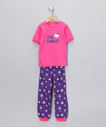 Pink 'I'm Sweet' Short-Sleeve Pajama Set - Toddler & Kids