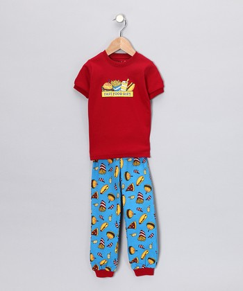 Red 'Fast Food Diet' Short-Sleeve Pajama Set - Toddler & Kids