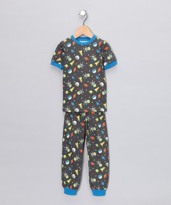 Gray Space Short-Sleeve Pajama Set - Toddler