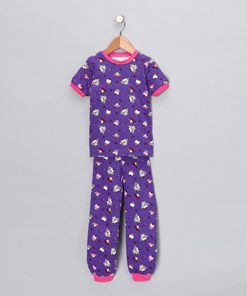 Purple Dessert Short-Sleeve Pajama Set - Toddler & Kids