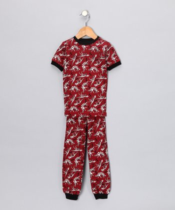 Red Dinosaur Short-Sleeve Pajama Set - Toddler & Kids