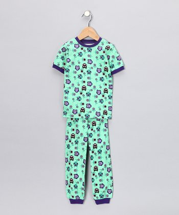 Aqua Owl Short-Sleeve Pajama Set - Toddler & Kids