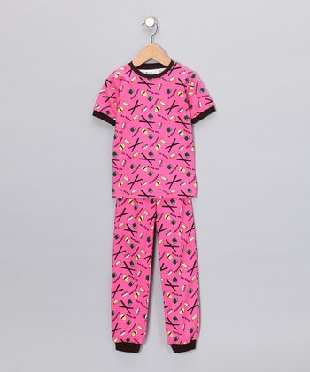 Pink Sushi Short-Sleeve Pajama Set - Toddler & Kids