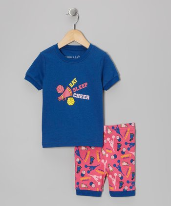 Blue 'Eat Sleep Cheer' Pajama Set - Toddler & Kids