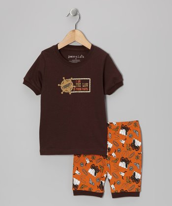 Brown 'Sheriff' Pajama Set - Toddler & Kids