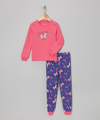 Pink 'Rodeo Princess' Long-Sleeve Pajama Set - Toddler & Kids