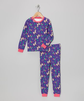 Purple Rodeo Princess Long-Sleeve Pajama Set - Toddler & Kids