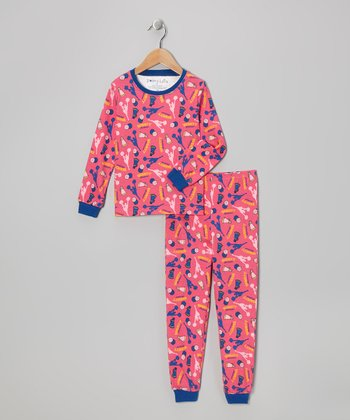 Pink Cheer Long-Sleeve Pajama Set - Toddler & Kids