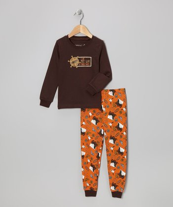 Brown 'Sheriff' Long-Sleeve Pajama Set - Toddler & Kids