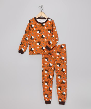 Orange Cowboy Long-Sleeve Pajama Set - Toddler
