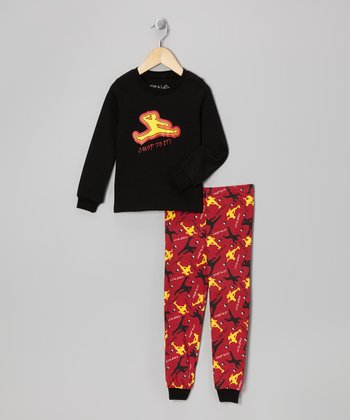 Black 'Chop to It' Long-Sleeve Pajama Set - Toddler & Kids