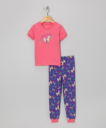 Pink 'Rodeo Princess' Short-Sleeve Pajama Set - Toddler & Kids