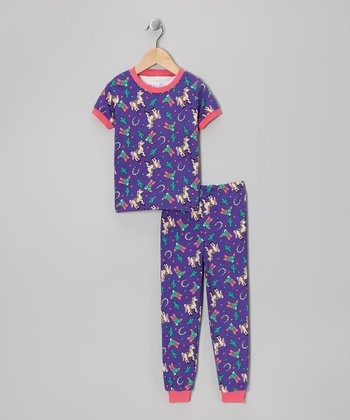Purple Rodeo Princess Short-Sleeve Pajama Set - Toddler & Kids