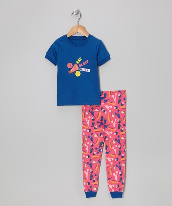 Blue 'Eat Sleep Cheer' Short-Sleeve Pajama Set - Toddler & Kids