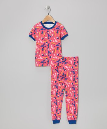 Pink Cheer Short-Sleeve Pajama Set - Toddler & Kids