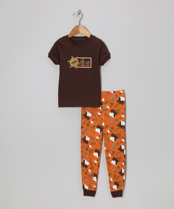 Brown 'Sheriff' Short-Sleeve Pajama Set - Toddler & Kids
