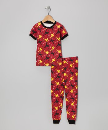 Red 'Chop to It' Short-Sleeve Pajama Set - Toddler & Kids