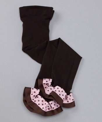 Brown & Pink Polka Dot Ribbon Leggings - Infant, Toddler & Girls