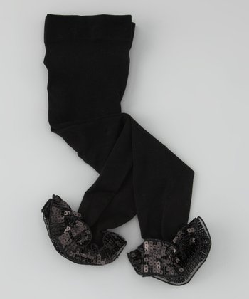 Black Sequin Ruffle Leggings - Infant, Toddler & Girls