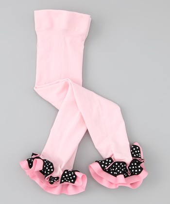 Pink & Black Ribbon Leggings - Infant, Toddler & Girls