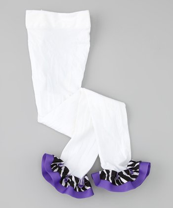 White & Purple Zebra Ribbon Leggings - Infant