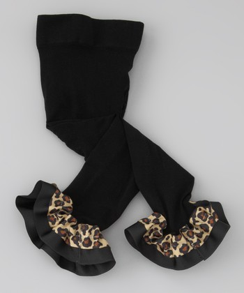 Black Leopard Ruffle Leggings - Infant, Toddler & Girls
