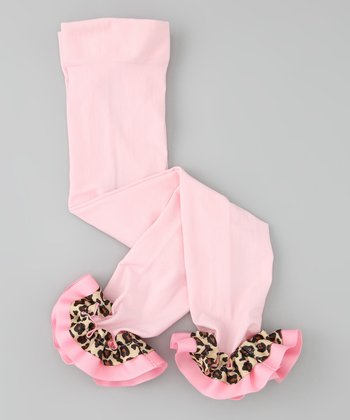 Pink Leopard Ribbon Leggings - Infant, Toddler & Girls