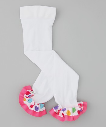 White Gumball Ribbon Leggings - Infant, Toddler & Girls